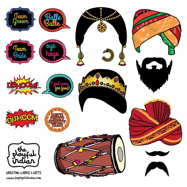 bollywood night indian theme wedding photo booth props instant download printable