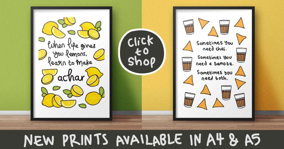 chai and samosa, lemon achar print