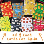 Set of 8 Funny Food Greeting Cards