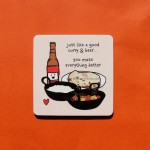 Just Like A Good Curry And Beer Coaster - Single