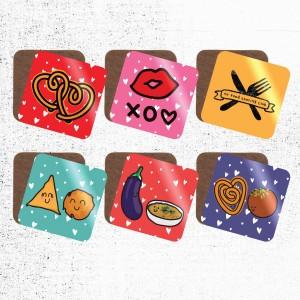Valentine's Range Food Pun Coasters - Singles