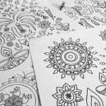5x Diwali / Rangoli Colouring Line Art Pages - Instant Download - Printable