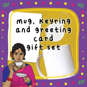 Mug, Keyring, Greeting Card Gift Set