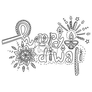 Single Diwali / Rangoli Colouring Line Art Page - Instant Download - Printable - Design01