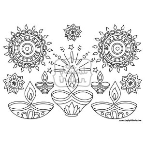 Single Diwali / Rangoli Colouring Line Art Page - Instant Download - Printable - Design02