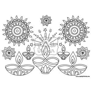 Single Diwali / Rangoli Colouring Line Art Page - Instant Download - Printable - Design02