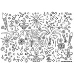Single Diwali / Rangoli Colouring Line Art Page - Instant Download - Printable - Design03