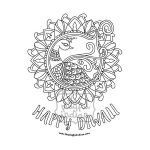 Single Diwali / Rangoli Colouring Line Art Page - Instant Download - Printable - Design05