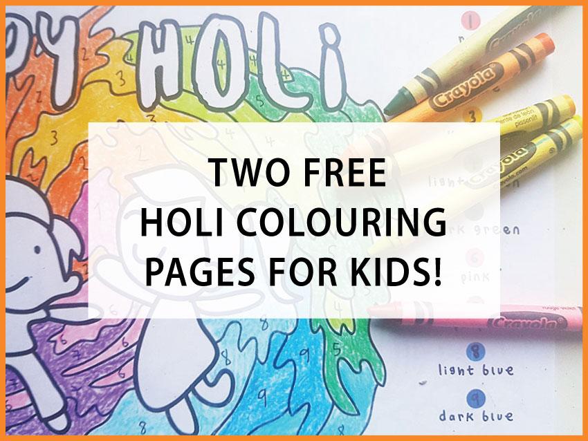holi colouring printables
