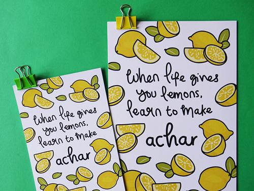 lemon achar print